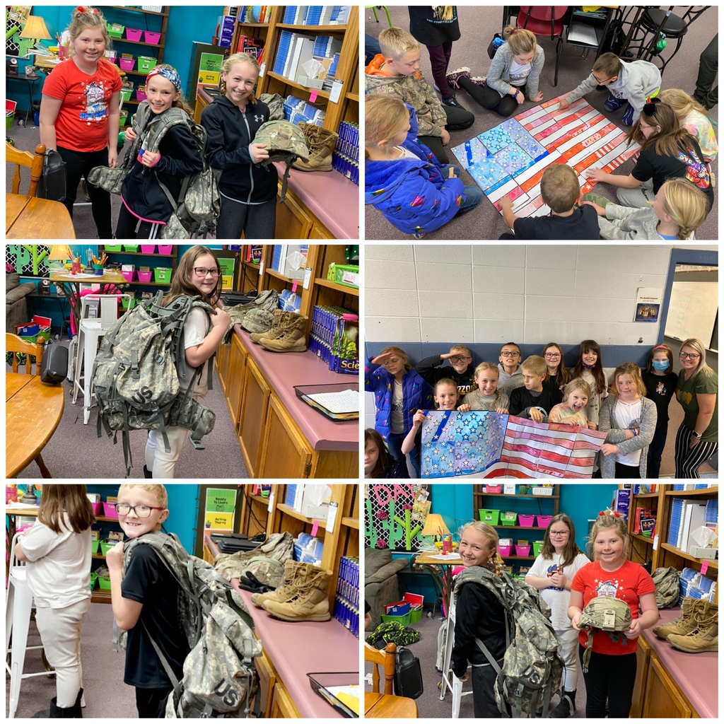 Veterans Day fun! So lucky to have our very own veteran in 4th grade! He brought all the things!