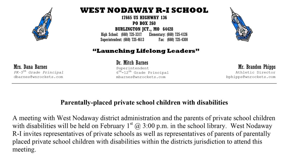 Private School Children with Disabilities Meeting