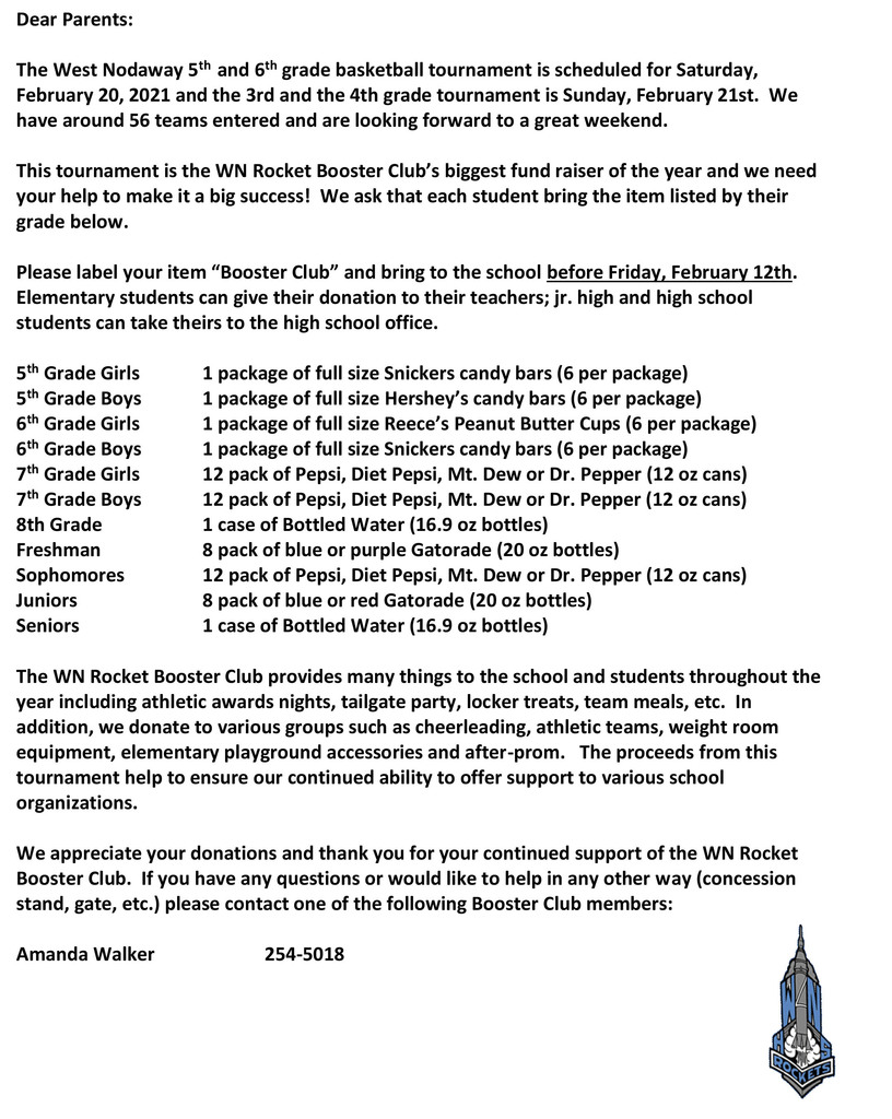 Updated Booster Club Letter