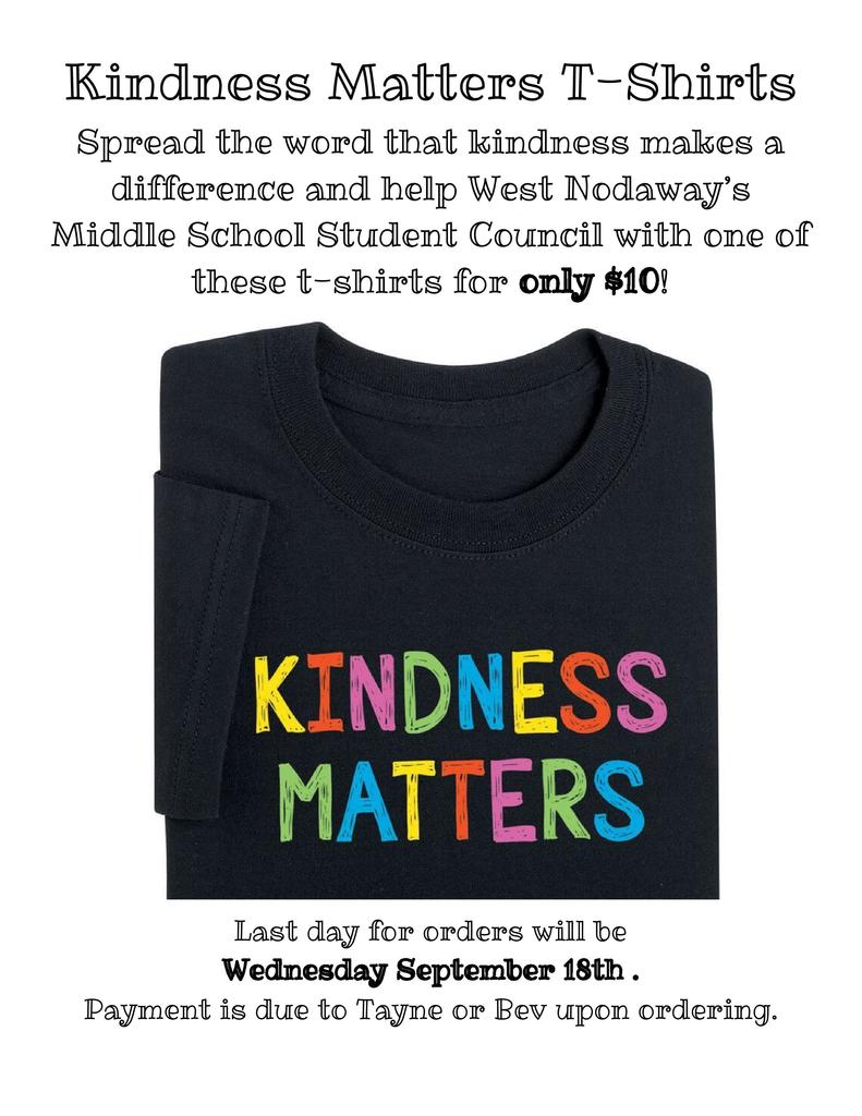 kindness matters t-shirt flyer