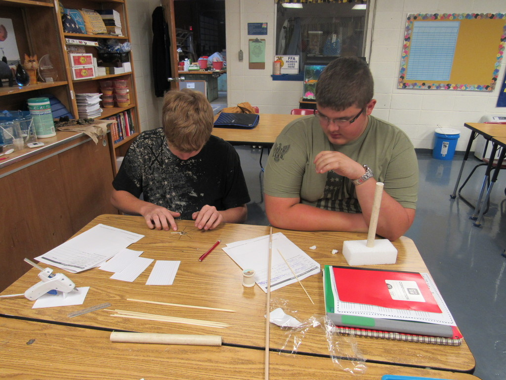 Ag Power & Tech students are making windmills which they will use to convert wind energy into mechanical energy.