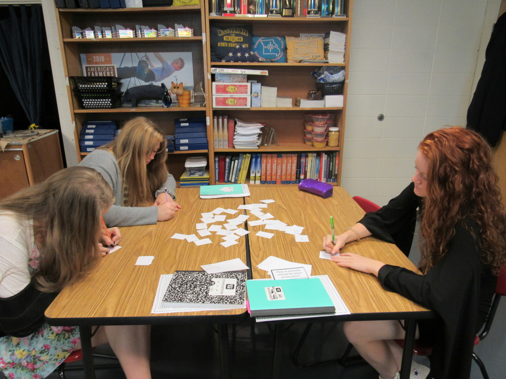 Plant Science students played a review game over soils using many Kagan Structures.